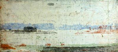Falko Behrendet, Annäherung an eine Landschaft, Große Enge IV., 2012, 9:30, Farbradierung, 17,5x39cm