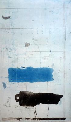 Falko Behrendet, Blau Schwarz, 1991,Auflage e.a.Farblithografie, 99x59cm