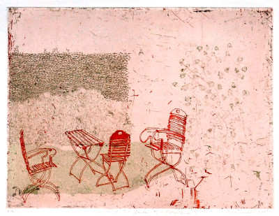 Falko Behrendet, Hatebüll II, Garten F. (Variante) rot, 25x33cm, 2013