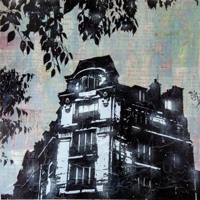 Jan Davidoff, Prachthaus, 2013, 120x120cm, Mischtechnik auf Papier auf LW