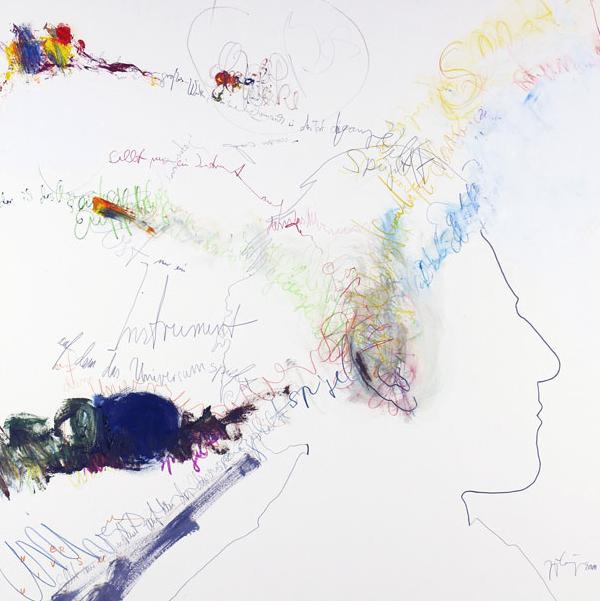 JoLa_Gustav Mahler V_2011_Protagonistendruck (Linolschnitt) und Mischtechnik auf Papier_72x72cm