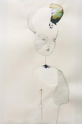 SaRi_Call me Butterfly_2014_76x56cm, Tinte, Gouache, Bleistift und Collage auf Bütten