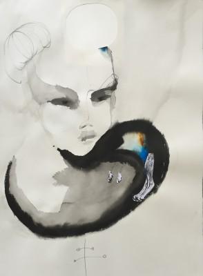 SaRi_Das Tier an mir_2014_76x56cm_Tinte, Gouache, Bleistift und Collage auf Bütten