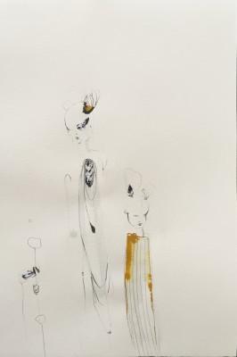 SaRi_Rehauge und Kitz_2014_57x38cm_Tinte, Gouache, Bleistift und Collage auf Bütten